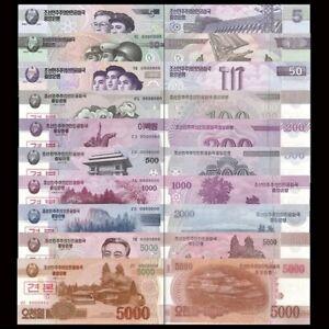 ASIA SET SPECIMEN 10 BANKNOTES IN UNC, WON PAPERMONEY korea, Korean, north