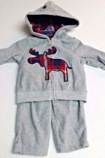 CARTERS 2pc Hooded Fleeced Warm Up Suit Boys Gray Plaid Moose Baby Boy New 3 mo