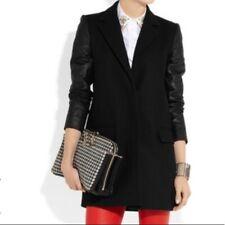 Theory Bindra Lamb Leather Sleeve Virgin Wool Coat Black Size P XS EUC