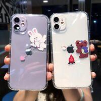 Cute Creative Phone Case Cartoon Rabbit Bunny Bear Soft Cover For iPhone 12 11 X
