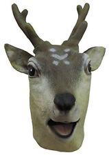 Adult Latex Full Head Antlered Deer Reindeer Mask Costume Accessory