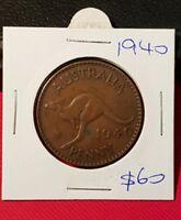 1940 Australian Penny coin