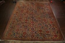 Pre-1900 Vegetable Dye Antique Oushak Turkish Hand-Knotted 14x16 Wool Green Rug