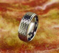 Tungsten Carbide Ring 8MM,Wedding,Hammered Design,Comfort Fit ,Grooved Edges