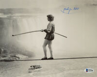 PHILIPPE PETIT SIGNED AUTOGRAPHED 8x10 PHOTO CROSSED NIAGRA RIVER BECKETT BAS