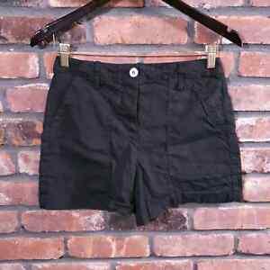 Theory Hi-rise Black Organic Crunch Wash Linen Cargo Shorts Women's Sz 4 EUC
