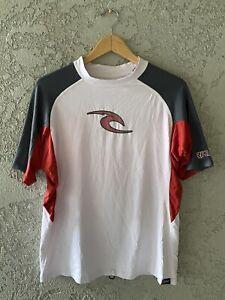 RIP CURL Men's Surfing Rash Guard Swim Shirt Red Trim UPF 50+ UV Protection XL