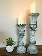 Set of 2 Tall Rustic Stag Head Candle Holders Candlestick Nordic Style Pillar
