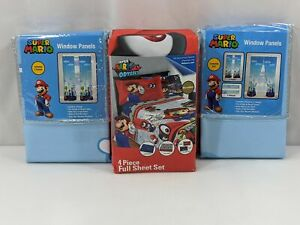 Super Mario Full Sheet Set Four Window Panels Nintendo Set of 8 1180