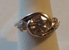 RING SIZ 6 NWOT QVC DIAMONIQUE 3 STONE STERLING SWIRL DESIGN CLASSIC 4.6 GR NICE