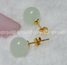 Pretty 10mm Jewelry Natural Light Green Jade Ball Gold Stud Earrings JE68