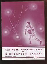 Nov 11 1948 NBA Program Minneapolis Lakers at New York Knickerbockers EX+