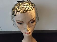 Vintage Black with Gold Mesh Hat with Veil & Velvet Bow