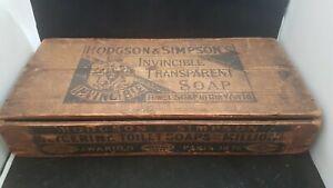 """ANTIQUE 1880c VICTORIAN AVERTISING SOAP BOX """"HODGSON & SIMPSON,S"""" IVINCIBLE SOAP"""