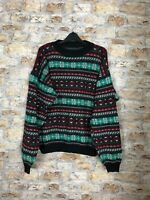 VINTAGE 90'S ABSTRACT GEOMETRIC CREW COSBY WINTER WARM MENS JUMPER LARGE #404
