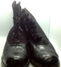 Vintage Victorian Woman's Black Leather and Wool Lace Up Boots