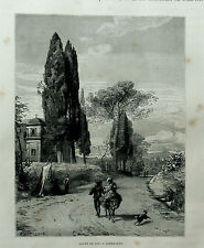 1877:ROMA.VEDUTA STRADA DI CAVI A GERMAZANO LAZIO.Xilo o in Passepartout.ETNA.