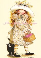 Holly Hobbie w Kitten Kitty Cat Adorable 5x7 Fabric Block Quilting & More