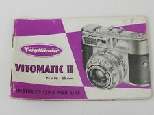 Original Voigtlander Vitomatic II Users Instruction Manual