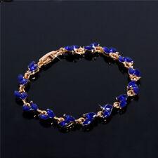 18K GOLD EP 2 CT DIAMOND SIMULATED SAPPHIRE MARQUISE TENNIS LINK BRACELET