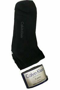 3 Pairs Mens Calvin Klein Trainer  Ankle Cotton Rich Sports Black Socks Gym CK