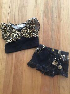 Super Cute Black Leopard. Build A Bear Top & Skirt