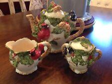 Cracker Barrel Cardinal Christmas Holiday Garden Tea Pot, Sugar & Creamer