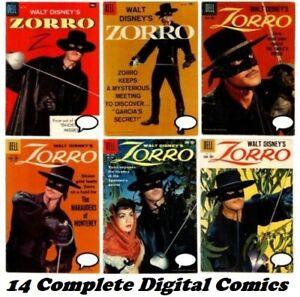 Disney's ZORRO (1959 Dell) 14 comic books DVD Silver Age Four Color Comic