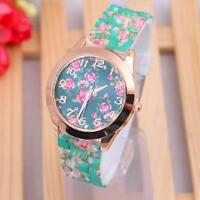 Casual Women's Analog Stainless Steel Quartz Silicone Band Dial Wrist Watch Gift