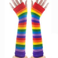 Chic Stripe Rainbow Fingerless Gloves Warmer Gothic Womens Girls Long Arm Gloves