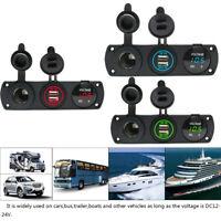 12V Dual USB Charger Socket Voltmeter+Cigarette Lighter Switch Panel Car Boat RV