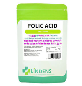 Folic Acid 400mcg - healthy pregnancy vitamins - 240 tablets Lindens