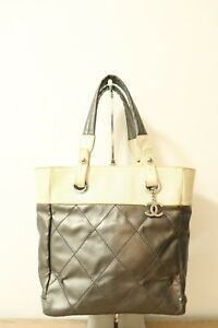 CHANEL Paris Biarritz Gray Leather Quilted Tote Shoulder Bag  #8135