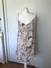 Billabong Womens Beige Floral - Butterfly Strappy Cotton Sun Dress Size 5 UK 10