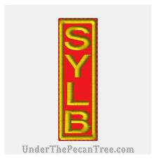 """RED AND GOLD SYLB Biker Vest Patch 1.4"""" x 4.5"""" Harley Motorcycle MC Gold on Red"""