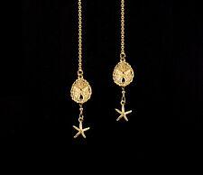 *CKstella*  14K Gold gf  Sand Dollar Sea Star Starfish Thread Threader Earrings