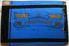 Antik//Rar uraltes REINES SEIDEN Silk TAFT dunkel Blau gekettelt 7,5cm um 1900