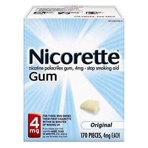 Nicorette Nicotine Gum Original 4mg 170ct Stop Quit Smoking Craving Aid