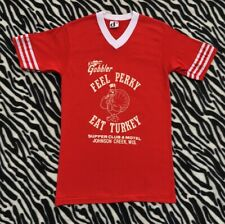 Vintage 70's Hartwigs Feel Perky Eat Turkey Shirt Small Thanksgiving Wisconsin