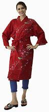 Kimono Ethnic Jacket Ume Uguisu Red #680 Happi Coat Novelty Gift Halloween