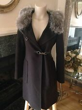 $2205 Carolina Herrera FOX FUR Hooded CASHMERE WOOL COAT Jacket Sz 6 8 S Small M