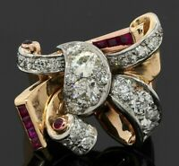 1940's heavy 14K 2-tone gold 3.88CTW VS diamond/ruby cluster bow cocktail ring