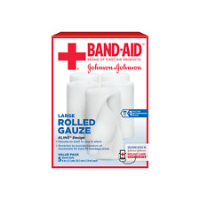 BAND-AID First Aid Rolled Gauze Sterile Roll, Large 5 ea (2-Pack)