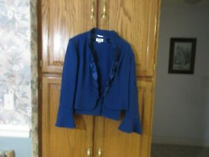 TALBOTS 2 Piece Suit jacket Pants ITALIAN Fabric lightweight Blue Size 10 NWT