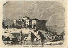 Stampa antica VARANO de' MELEGARI veduta del Castello Parma 1869 Old print
