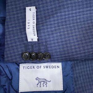 Tiger of Sweden Jamonte Trim Fit Blue Check Wool Blazer Men's Size US 38R