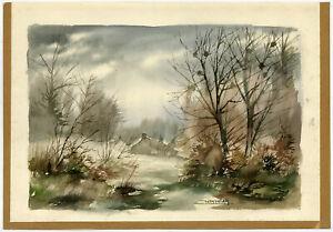 Antique Drawing-SOLOGNE-FOREST LANDSCAPE-Juskowiak-ca. 1960
