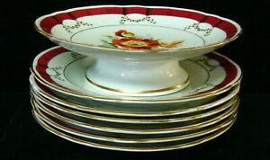 "7 Pc Set Vintage European Hand Painted Floral- Compote & 6 - 9"" Plates"
