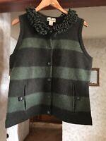 Woolrich Women's Size L 100% Lambs' Wool Button Sweater Collared Vest Dk Loden