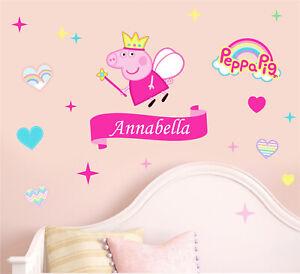 Personalised Peppa Pig Wall Art Stickers Boys Girls George Nursery Bedroom